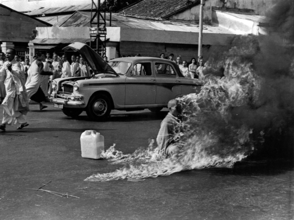 Journalist Malcome Browne took this iconic photo of the self-immolation of Buddhist monk Thich Quang Duc in Saigon in 1963. The monk committed suicide to protest what he called government persecution of Buddhists. Browne, who worked for the AP and later The New York Times, died Monday at age 81.