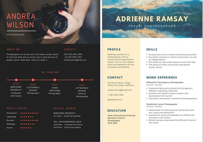 creative resume tips for photographers
